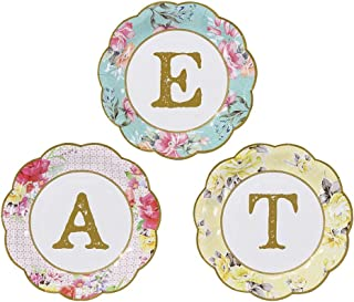 Talking Tables Tea Party Vintage Floral Paper Plates Eat | Truly Scrumptious | Also Great For Birthday Party, Baby Shower, Wedding And Anniversary | 12 Count