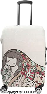 Travel Luggage Cover 3D Print Suitcase Protector Washable,Hand Drawn Girl with Long Hair and Closed Eyes Curvy Floral Ornaments Sketch Art,Suitcase Protector Fit for 19-32 Inch Luggage