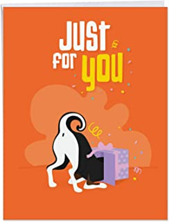 Doggone Awesome Notes ' Big Birthday Card with Envelope 8.5 x 11 Inch - Fun Colorful Dog Gift, Puppy in Open Box Present, Just for You, Stationery Set for Personalized Greetings and Wish J6586BBDG