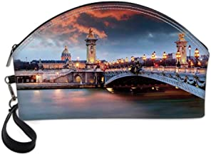 Paris Decor Small Portable Cosmetic Bag,Alexandre 3 Bridge Paris France Palace Golden Color Peaceful Surface Waterscape For Women,Half Moon Shell Shape One size