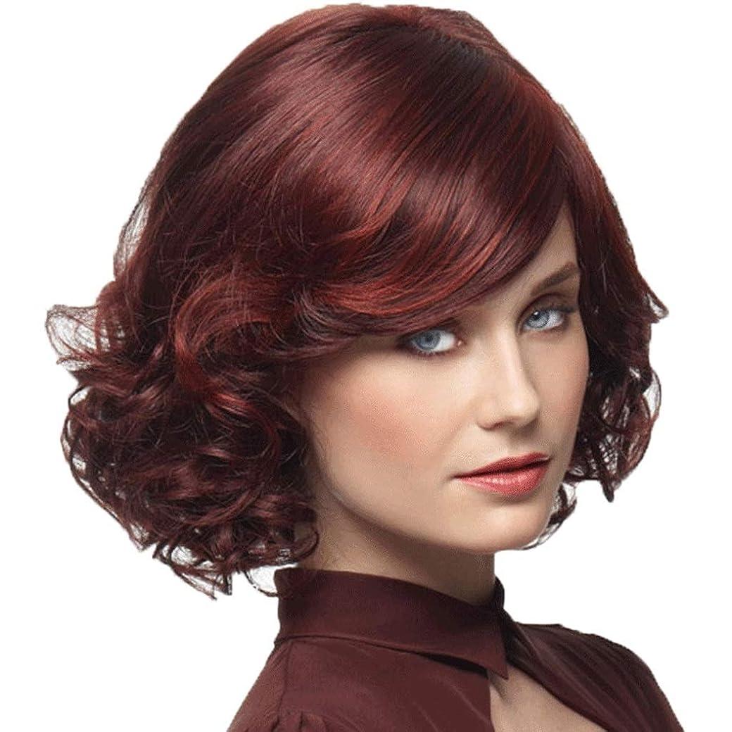 案件世界的にサンダーレディースウィッグワインレッドミディアムレングスウェーブのかかった人工毛ウィッグ (色 : 赤)