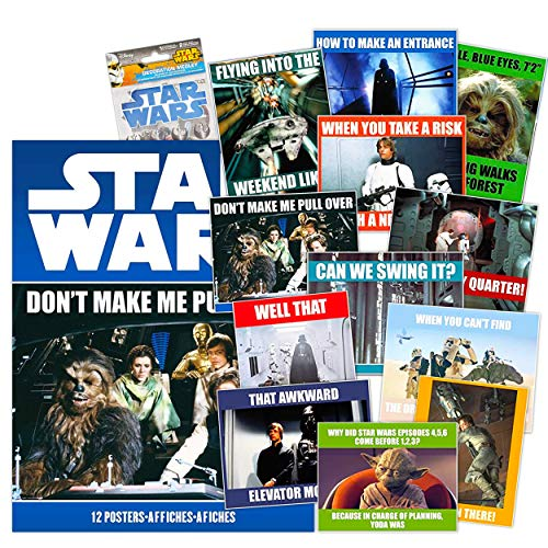 Star Wars Poster Book Set Star Wars Room Decorations - Star Wars Wall Art Bundle Includes 12 Star Wars Memes Posters 8' x 11' Featuring Yoda, Darth Vader, Han Solo, Luke Skywalker, and More