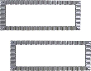 "Party Essentials Disposable Hard Plastic Decorative Wavy Trays, 17"" X 9"", White/Silver Edge"