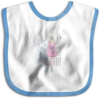 UBCATDESA Fashion Girl Baby Bibs, Unisex Baby Soft Cotton Easily Clean Teething Bibs(Blue&Pink)