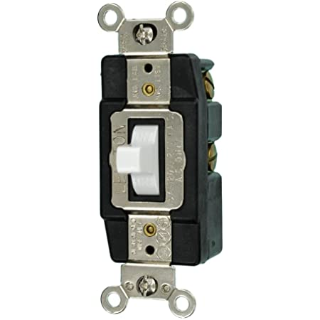 Leviton 1256 15 Amp, 120/277 Volt, Toggle Double-Throw Ctr-OFF Momentary Contact Single-Pole AC Quiet Switch, Extra Heavy Duty Spec Grade, Grounding, Back & Side Wired, White