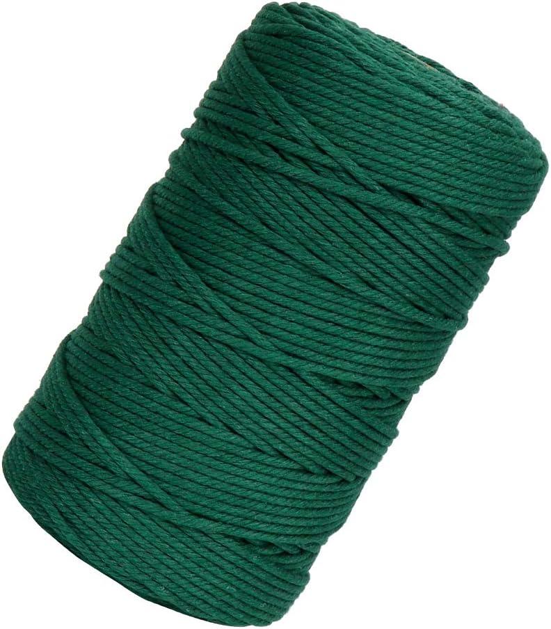 Hilo Macrame 3mm x 200m, Cuerda Algodó Macrame, Cotton Rope Cordel Natural Verde oscuro para Macramé Colgador Plantas, Colgar Fotos, DIY Manualidades, Decoración Bohemia, Envolver Regalos