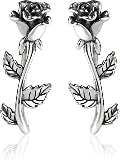 Wicary Rose Ear Crawler Cuff Earrings Sterling Silver Studs Ear Climber Hypoallergenic