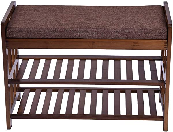 Shoe Storage Bench 2 Tier Entryway Shoes Boot Rack Organizer Wood Foot Stool Shelf With Cushion Seat Brown