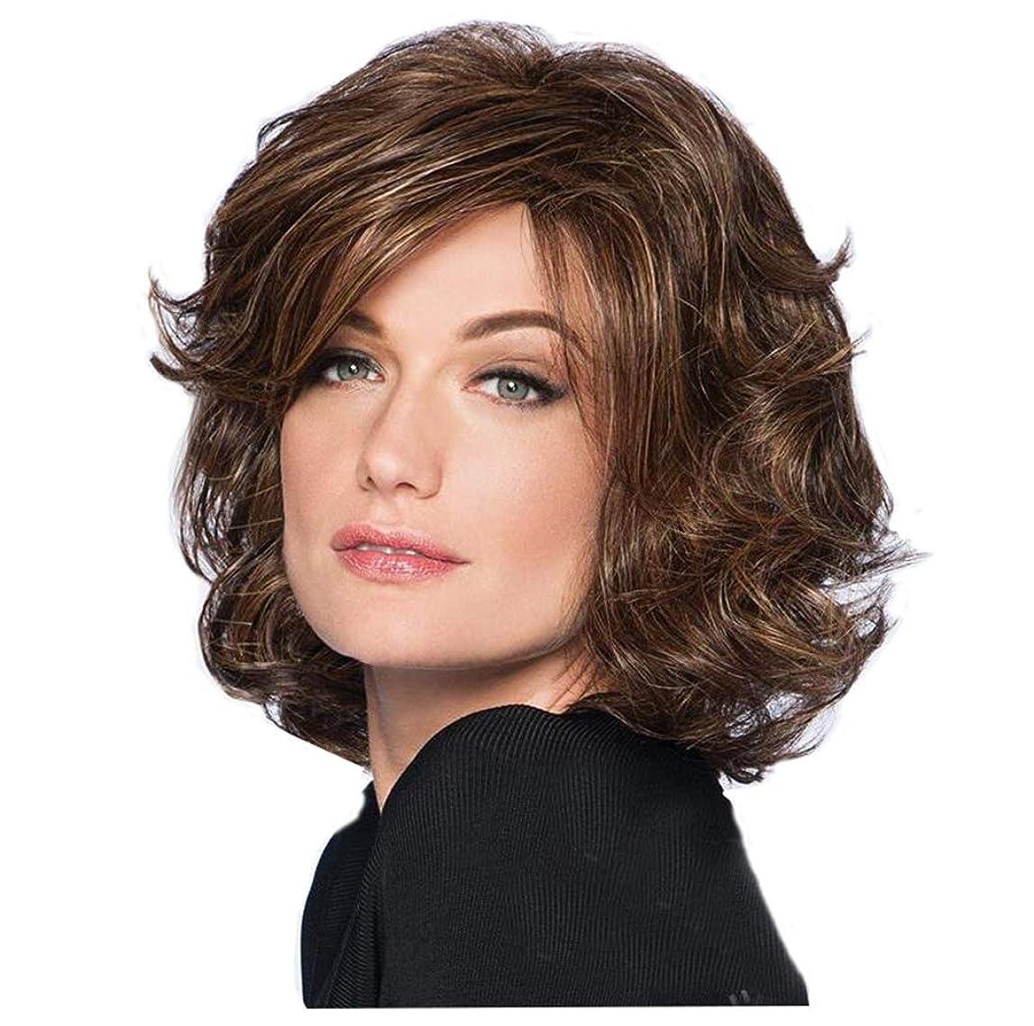 はず暗い従順なウィッグレディースショートカーリー波状の高品質耐熱ゴールデンブラウン合成人間の髪の毛のかつらとして