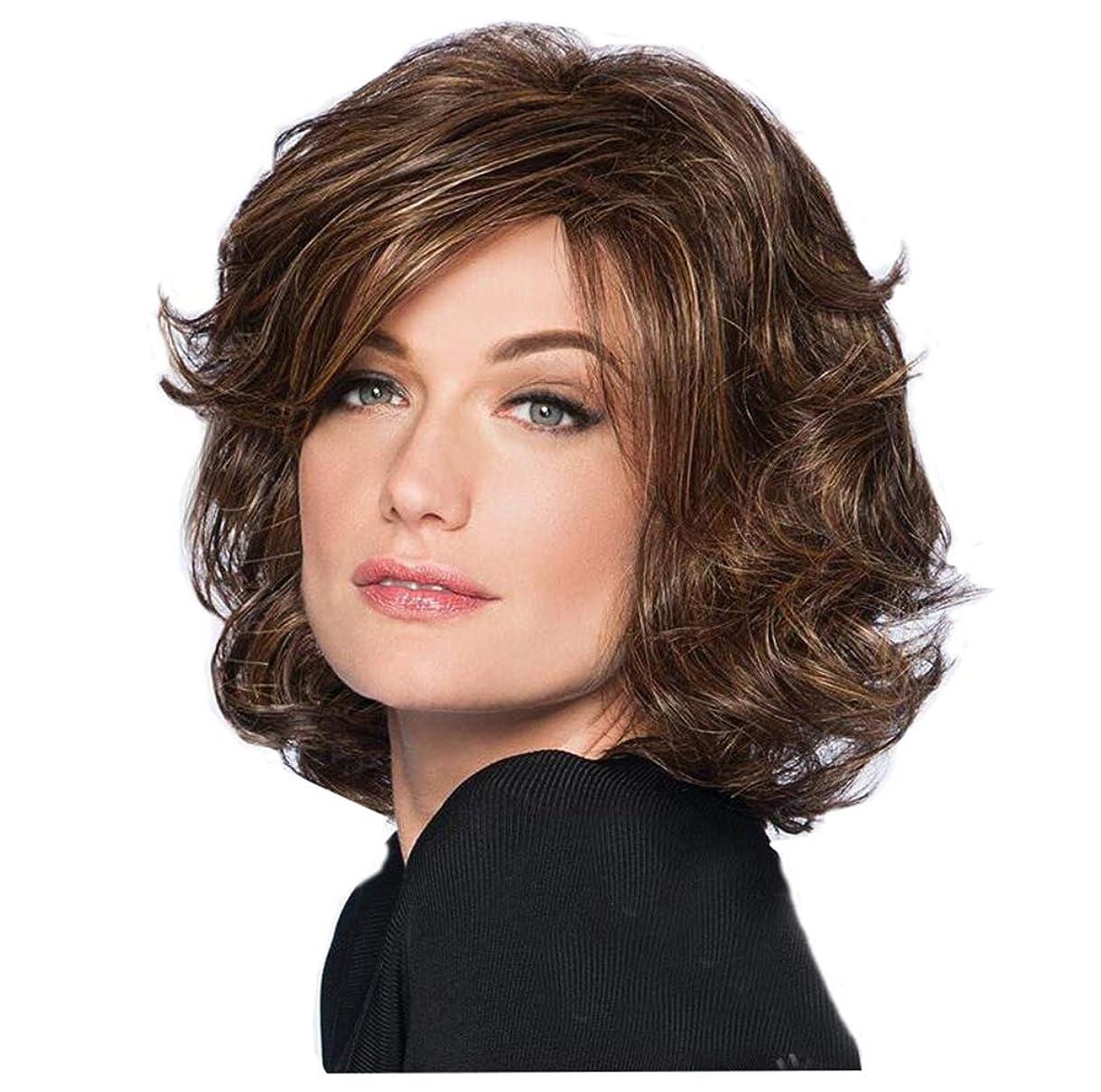 ペインギリックがっかりする男やもめウィッグレディースショートカーリー波状の高品質耐熱ゴールデンブラウン合成人間の髪の毛のかつらとして