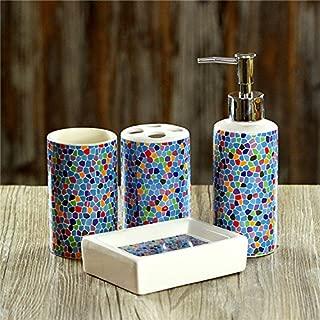 USTARAIL 4 Piece Bath Ensemble, Bath Set Collection Features Soap Dispenser Pump, Toothbrush Holder, Tumbler, Soap Dish Bathroom Accessories Sets - Colorful Mosaic Tile Pattern