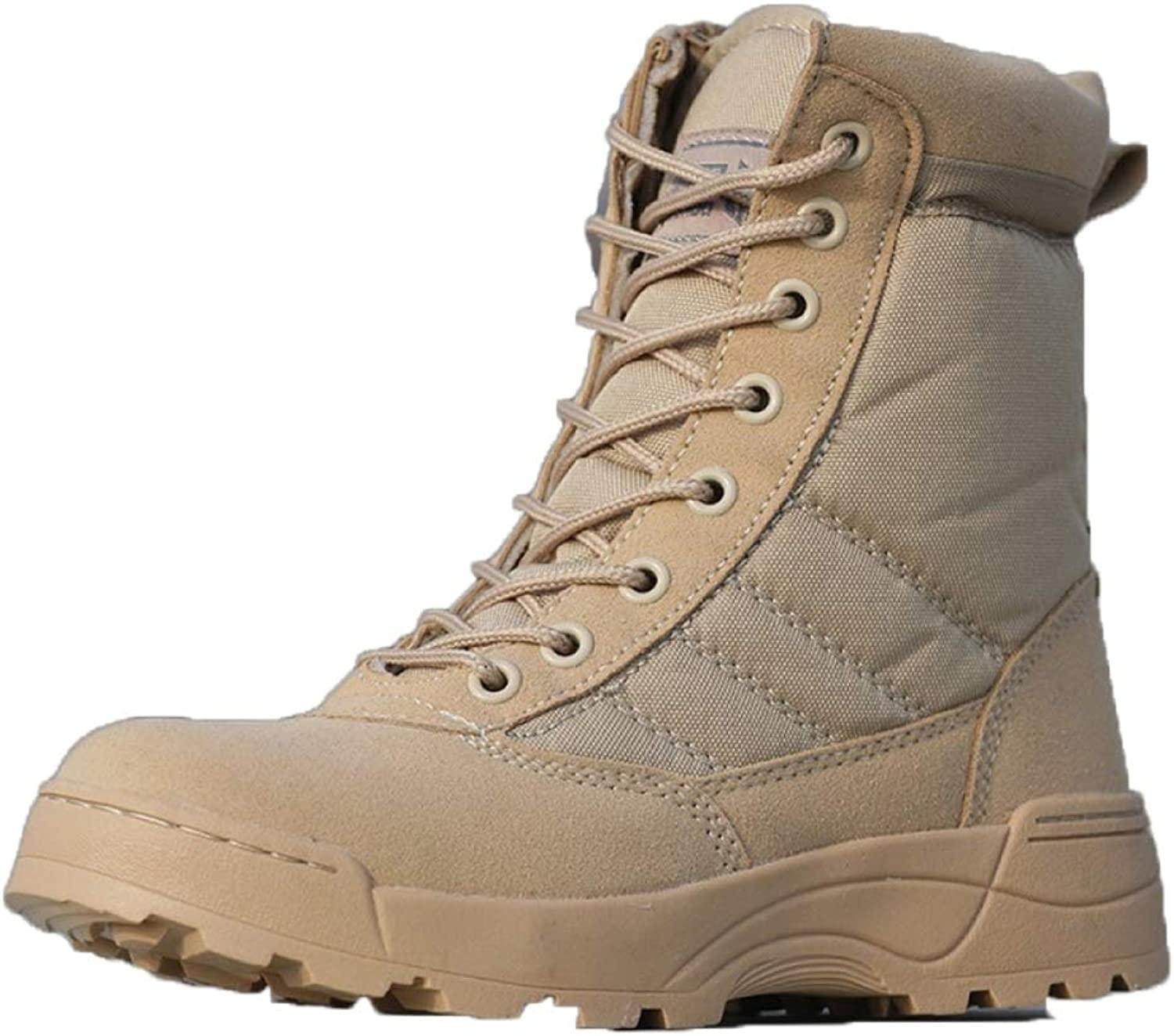 DSFGHE Men Boots Spring and Autumn Tactical Boots Lightweight Work Boots High Help Breathable High Help Lace-up shoes Snow Boots