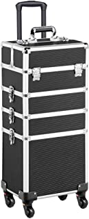Yaheetech 4 in 1 Aluminum Rolling Cosmetic Makeup Train Case Trolley, 4 Removable Wheels Professional Artist Train Case Organizer Box with Hexagonal Telescopic Rod Lift Handle (Black)