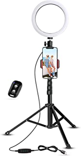 """8"""" Selfie Ring Light with Tripod Stand & Cell Phone Holder for Live Stream/Makeup, UBeesize Mini Led Camera Ringlight for ..."""