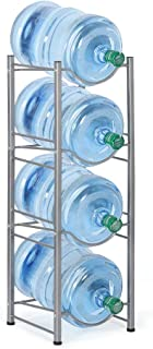 4-Tier Water Bottle Holder Cooler Jug Rack, 5 Gallon Water Bottle Storage Rack Detachable Heavy Duty Chrome Water Bottle Cabby Rack Caddy Carrier with Holder(Ship from US)