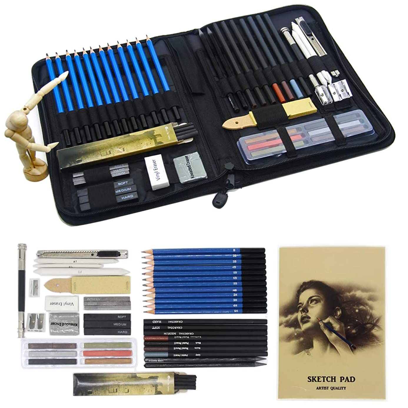 Parallel Halo Professional Art Kit Drawing and Sketching Set with Carrying Case; Sketching and Charcoal Pencils; Art Kit for Kids, Teens and Adults (49sets)