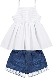 2pcs Toddler Baby Girls T-Shirt Dress+Jeans Pants Clothes Outfits Set