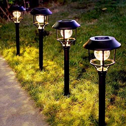LE luz solar jardín, 6 LED blanco cálido luz solar para jardín para exteriores, lámparas solares Impermeable IP44 para camino luz decorativa para terrazas, césped, pasarelas, balcón, patio, paisaje