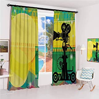 GUUVOR Movie Theater Sunshade Sunscreen Curtain Abstract and Vibrant Colored Composition with Strips Projection Silhouette Soundproof Shade W52 x L63 Inch Multicolor