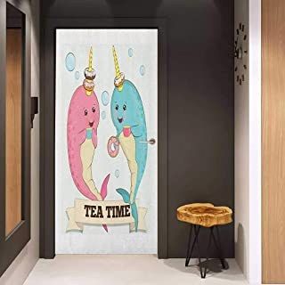 Onefzc Front Door Sticker Narwhal Tea Drinking Whales Ocean Unicorn with Abstract Bubbles Backdrop for Home Decor W17.1 x H78.7 Pale Blue Beige Pale Pink