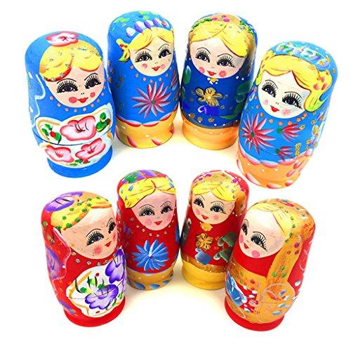 siwetg Set mit 5 Puppen aus Holz, russische Matrjoschka, handbemalt, Geschenk