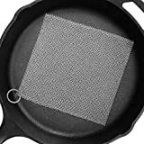 """Amagabeli 8""""x8"""" Cast Iron Cleaner Mesh Premium 316 Stainless Steel Small Rings with 3.8mm Opening Chainmail Scrubber for Cast Iron Pans Pre-Seasoned Pan Dutch Oven Waffle Iron Pans Skillet Cleaner"""