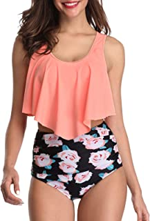 Women Ruffled Flounce Strappy Bikini Print High Waisted Swimsuit Two Piece Bathing Suit Top with Swim Bottom