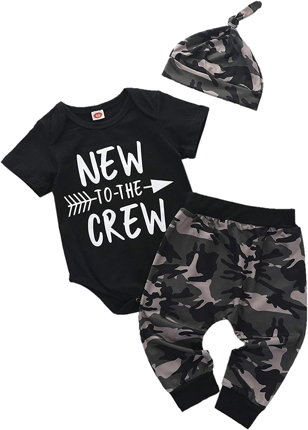 Tikoubabe Baby Boy Clothes Stuff Infant Summer Cute Letter New to The Crew Outfits 3 Pieces Romper + Camo Pants + Hat