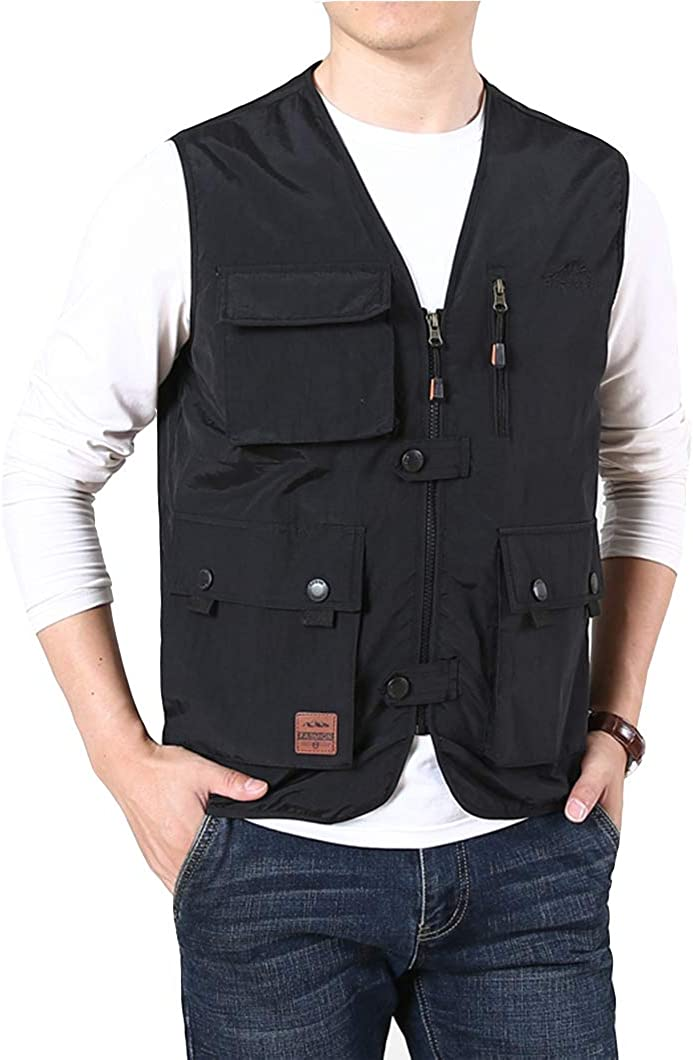 Duyang Men's Casual Multi-Pocket Lightweight Outdoor Vest Work Fishing Waistcoat