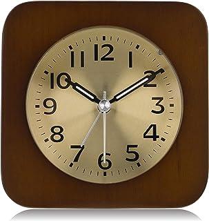 comprar comparacion Lafocuse 10cm Despertador Analógico Madera Dial de Metal con Alarma Progresiva y Luz de Noche Reloj de Mesa Silencioso Cua...