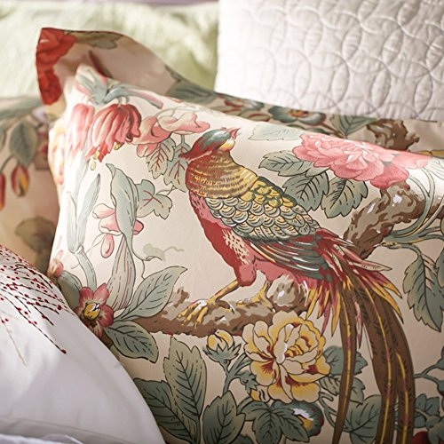 Eikei Home Chinoiserie Chic Peacock Floral Duvet Cover Paradise Garden Botanical Bird and Tree Branches Vintage Stylized Long Staple Cotton Bedding Set (King, Autumn Red)