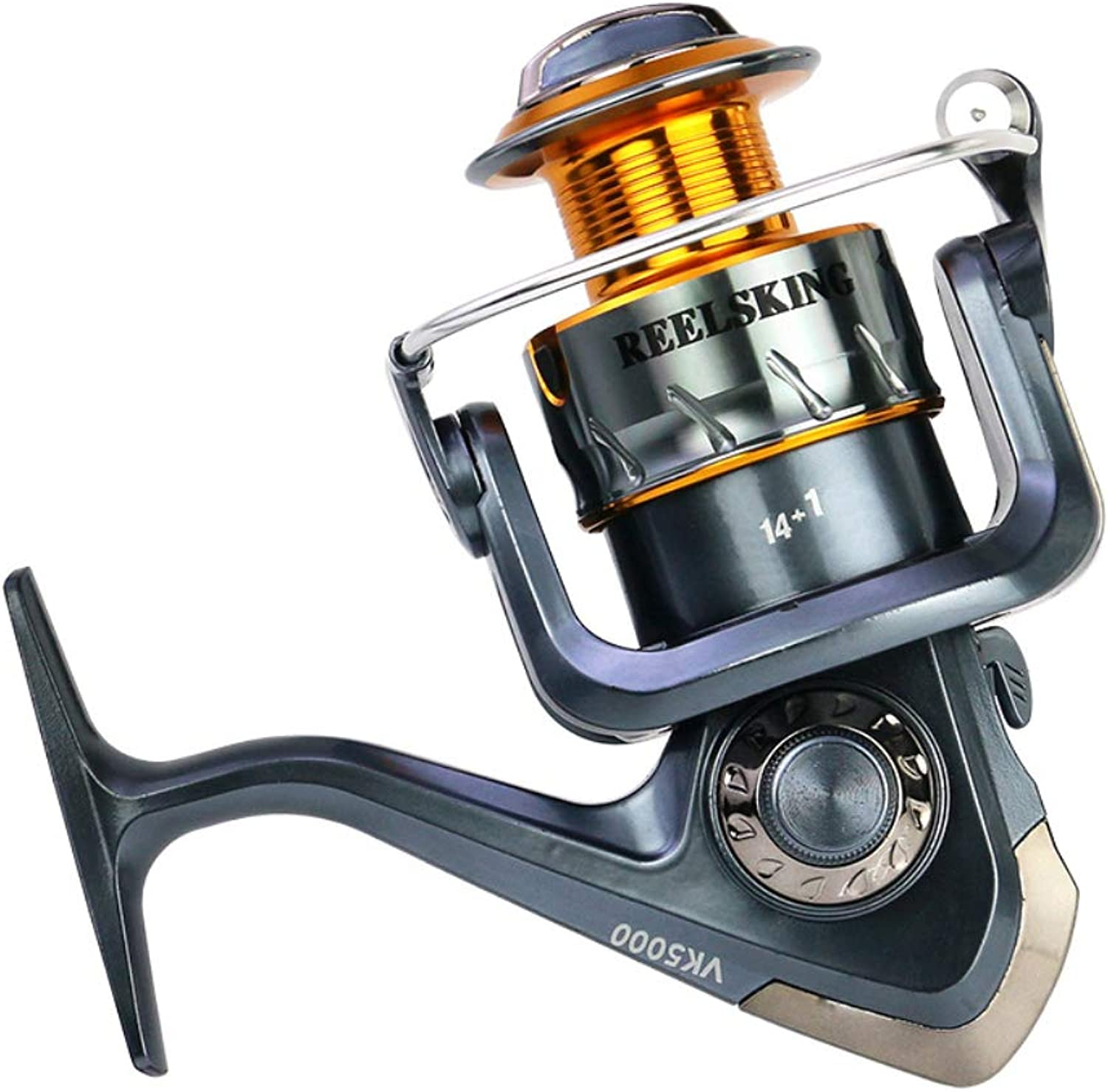 Fishing Reel with Left Right Interchangeable Collapsible Handle 5.5 1 Ratio Spinning Fishing Reel Saltwater Freshwater Fish Reels   30007000Series Reel,MH4000