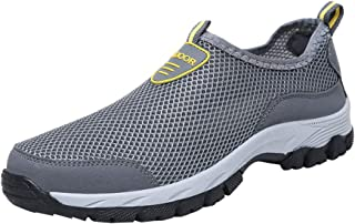 Men's Breathable Athletic Running Shoes - WEUIE Casual Mesh Sport Workout Outdoor Walking Slip-On Sneakers Loafers