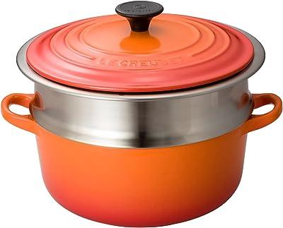 【セット買い】 ルクルーゼ 蒸し器 ココット ロンド ホーロー鍋 + ステンレス スチーマー セット 24cm IH対応 オレンジ