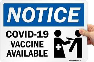 """SmartSign """"COVID-19 Vaccine Available"""" - Cartel de 25,4 x 35,5 cm, color azul, negro y blanco, impresión digital, 40 mm de..."""