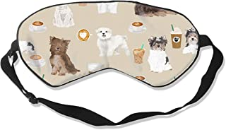 Toy Dogs Cute Toy Dog Coffees Cute Toy Dogs Silk Sleep Mask Comfortable Blindfold Eye mask Adjustable for Men, Women or Kids