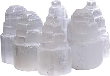 AMOYSTONE 6 Pcs Selenite Crystal Skyscraper Tower Stones White Morocco for Healing, Reiki, Home Decor 2 Inches Height