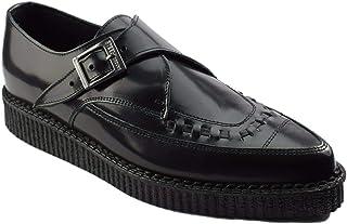 Zapatos de tierra de acero negro de cuero Creepers Monje hebilla puntiaguda Sc200Z178