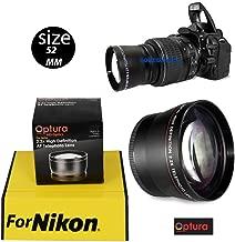 OPTURA HD Photo 52MM TELEPHOTO 2.2X Lens for Nikon D3200 D3000 D5300 D5000 D5200 D3300 D90 D80 D40 D40X D70+ OPTURA HD Micro Fiber Cloth