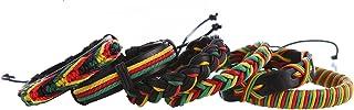 DonDon® 6 Pulseras Rastafarian de cuero y tela