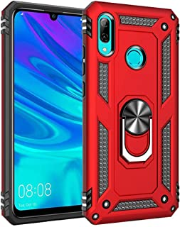 Ikwcase Huawei P Smart 2019 Case, Dual Layer Tough Rugged Ring Holder Stand Armor Shockproof Drop Protection Case Cover for Huawei P Smart 2019 / Honor 10 Lite Red