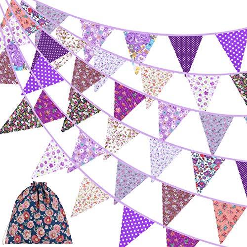ADXCO Wimpelkette aus Stoff, 1,4 m, Vintage-Wimpelkette, 42 Stück, florale Wimpel, Dreiecks-Flaggen, Stoffgirlande für Geburtstag, Hochzeit, Party, Zuhause, Garten, Babyparty, Dekoration, Lila