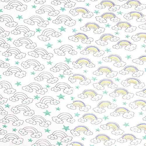 Fabulous Fabrics Jersey di Cotone Magic UV Nuvole & Arcobaleno — Vendita al Metro da 0,5m — per Cucire Abbigliamento per Bambini, Magliette e Abiti