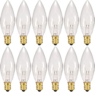 Creative Hobbies® Replacement Light Bulbs for Electric Candle Lamps, Window Candles, Chandeliers - 7 Watt, Clear, Steady Burning, 120v 7w bulb - Pack of 12