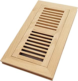 Homewell White Oak Wood Floor Register Vent, Flush Mount with Frame, 4x10 Inch, Unfinished