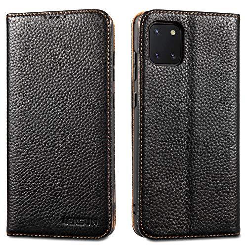 Lensun Cover Samsung Galaxy Note 10 Lite, Vera Pelle Flip Custodia a Portafoglio Telefono con Magnetica per Samsung Galaxy Note 10 Lite- Nero(N10L-DC-BK)