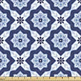 Lunarable Ethnic Fabric by The Yard, Traditional Medieval Portuguese Azulejo Tiles Pattern with Stars, Decorative Fabric for Upholstery and Home Accents, 3 Yards, Pale Blue