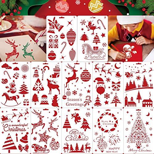 Qpout 12Pack Plantillas de Plantillas de Navidad, Plantilla de Dibujo de Navidad reutilizable, Plantillas de Navidad para Tarjetas de Felicitación, Álbumes, Álbumes
