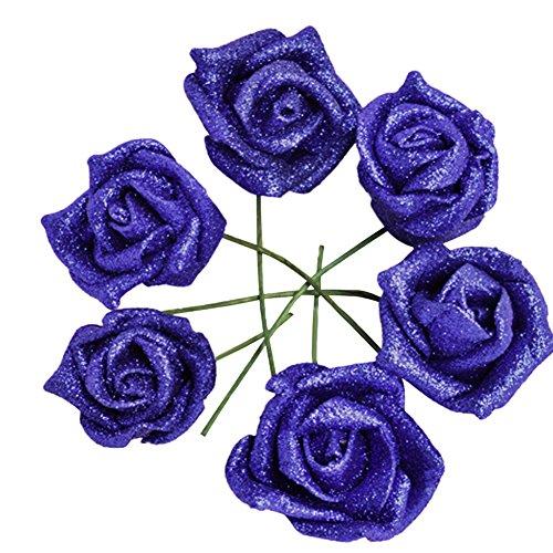 zuoyety 20/50pcs DIY 3d real Touch ramos de flores de boda Artificial rosa de espuma Artificial flores cabeza con tallo para boda fiesta decoración para el hogar, azul, 50 pcs