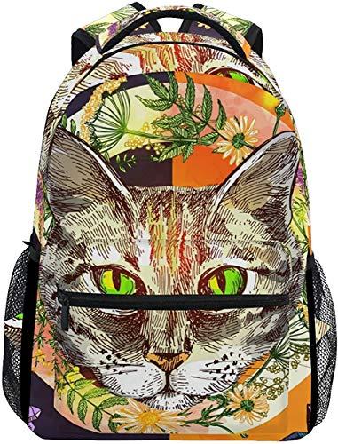 MODORSAN Mochila escolar informal estilo bohemio con cara de gato colorida, mochila de viaje ligera, bolso de hombro universitario para mujeres, niñas y adolescentes